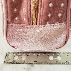 Bags - Large Studded Velvet Makeup Cosmetic Bag - Pink